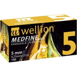 100 agujas Wellion Medfine 5 mm (31G x 0,25 mm)