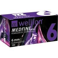 100 agujas Wellion Medfine 6 mm (31G x 0,25 mm)